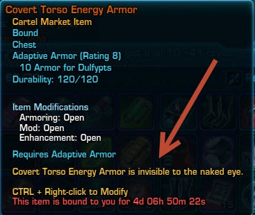 Star wars the old republic why isn t quot covert torso energy armor quot on