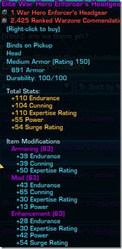 SWTOR patch 1.6 Elite War Hero armor Agent and Smuggler stats
