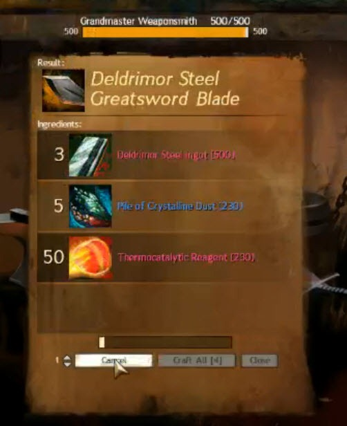Crafting Deldrimor Steel Ingot