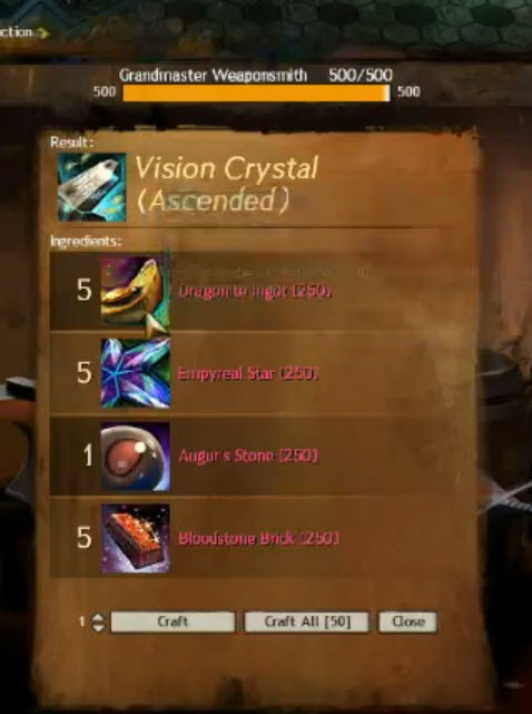 Blade And Soul Crafted Recipe Use