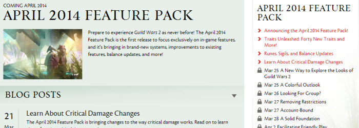 GW2 Feature Pack Patch info roadmap