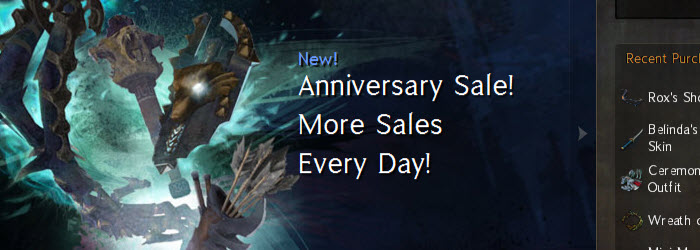 GW2 2nd Anniversary 10 Day Gemstore Sale