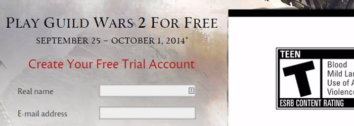 GW2 Free Trial from Sept 25 to Oct 1