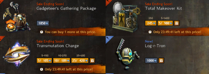 GW2 24 hr Gemstore Sale on Makeover Kit, Transmutation Charges, and Gathering Tools