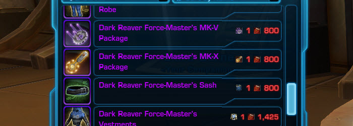 SWTOR PvP Gear Prices Changes for Patch 3.3