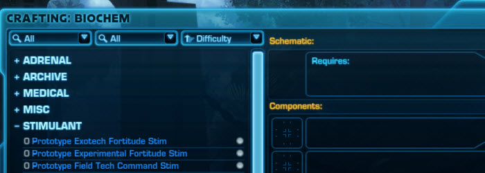 SWTOR New Crafting Items and Schematics in 4.1