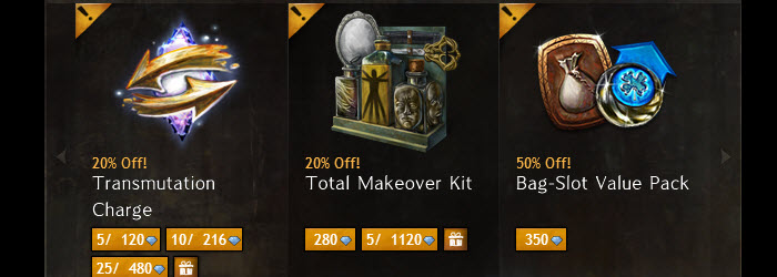 GW2 20% Off on Transmute Charge/Makeover Kit