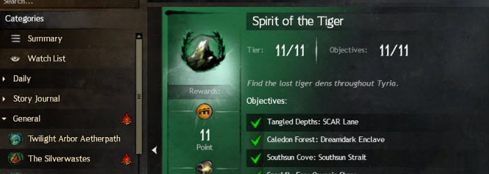 GW2 Spirit of the Tiger Explorer Achievement Guide