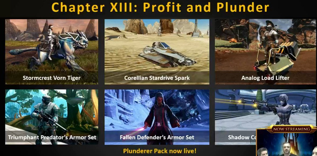 swtor plunder pack swtor may producer's livestream coverage dulfy