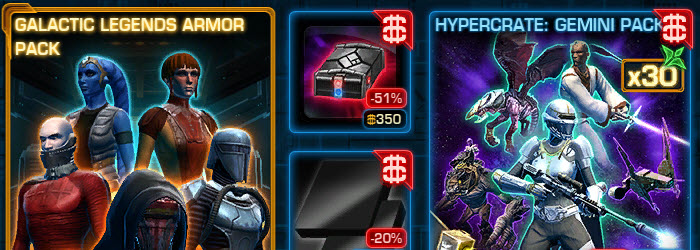 SWTOR Galactic Legends Armor Pack and Black/White Modules Available