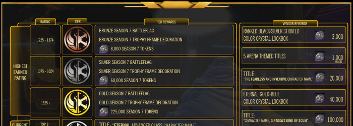 SWTOR Season 7 PvP Rewards