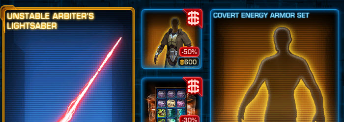 SWTOR CM Covert Energy Armor Set and First Grand Acquisition Pack now available
