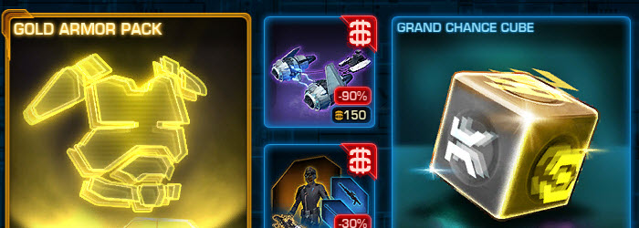 SWTOR CM Gree Hypergate and Gold Armor Pack now available