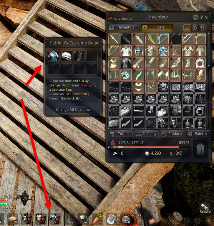 Black desert patrigio s costume and morco s gear bag guide for Canape outfit bdo