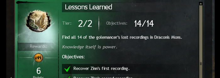 GW2 Lessons Learned Zinn's Recording Achievement Guide