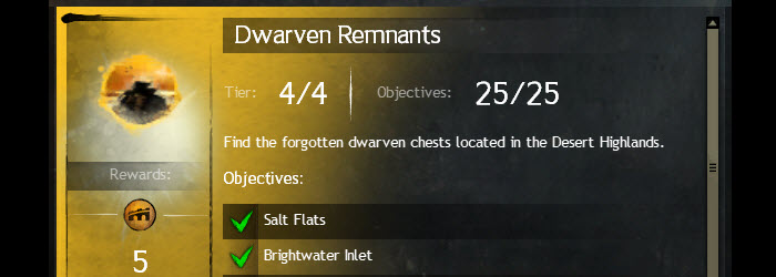 GW2 Dwarven Remnants Lost Dwarven Chests Achievement Guide