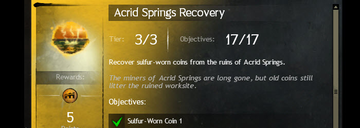 GW2 Acid Springs Recovery Sulfur-Worn Coins Guide