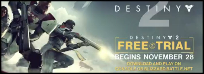 Destiny 2 Free Trial Available Starting Nov 28