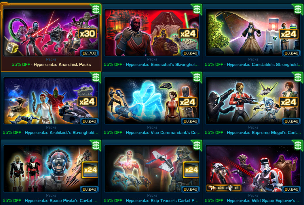 SWTOR Cartel Market Hypercrates 55% OFF for Black Friday ...