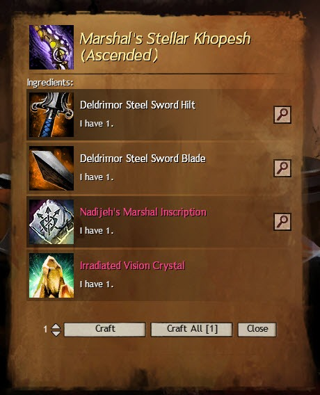 Guild Wars  Weapon Crafting Calculator