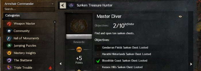 GW2 Sunken Treasure Hunter Achievement Guide