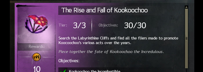 GW2 The Rise and Fall of Kookoochoo Achievement Guide