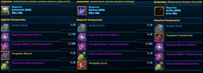 SWTOR Masterwork Armor Crafting & Acquisition in Patch 5.10