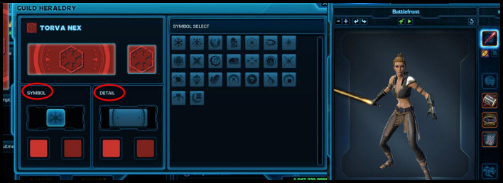 SWTOR Guild Heraldry and Preview Window Preview
